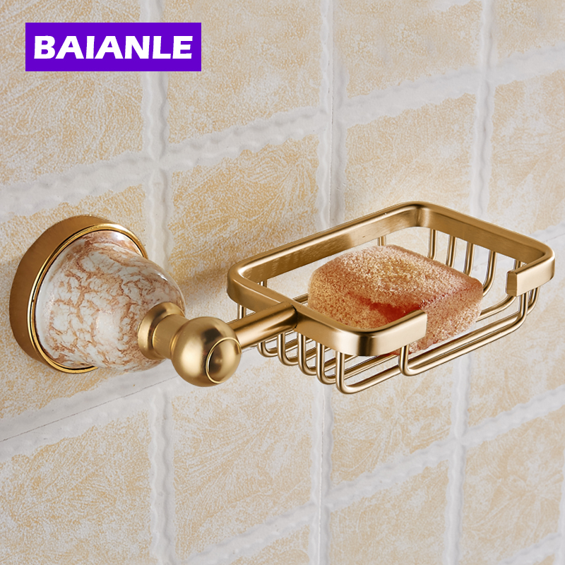 Free Shipping Luxury Golden Polished Bathroom Soap Basket Holder Solid  Aluminum Soap Dish Wall Mounted Modern Bathroom