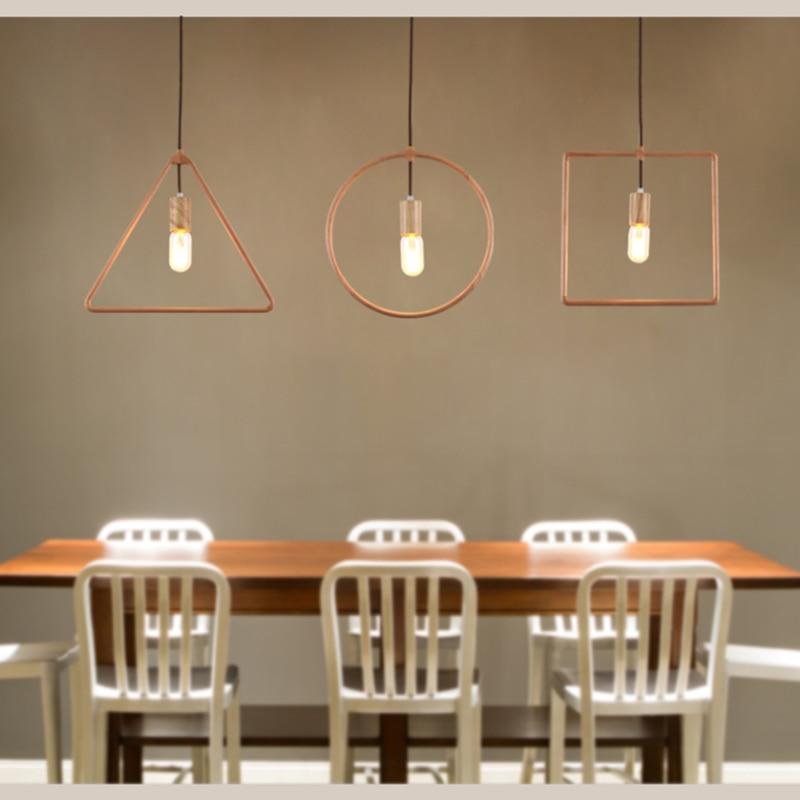 Art Deco həndəsə taxta asma lampalar Kafe barı üçün müasir - Daxili işıqlandırma - Fotoqrafiya 2