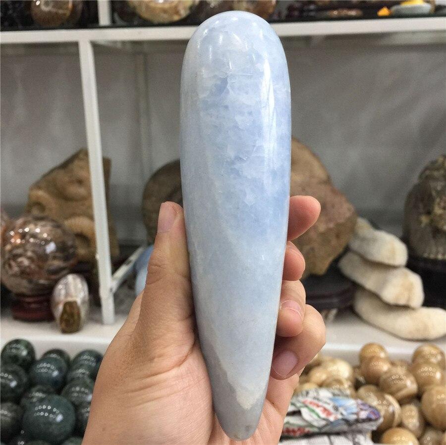 Special offer large size natural blue celestine quartz crystal massage wand Reiki handmade gemstone heal to health Special offer large size natural blue celestine quartz crystal massage wand Reiki handmade gemstone heal to health