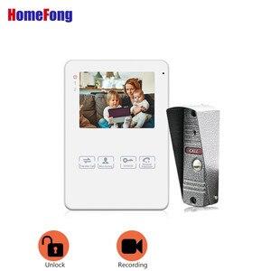 Image 2 - Homefong 4 pouces filaire vidéo porte téléphone sonnette interphone système vidéo caméra noir/blanc enregistrement étanche à la pluie