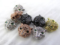 Free ship 12pcs CZ Micro Pave 11mm Panther Head Beads White Silver Rose Gold Mixed color CZ Bead,Black Gunmetal animal charm je