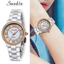 SUNKTA Ceramic Quartz Diamond Women Watches Rose Gold Waterproof Watch Simple Fashion Dress Bracelet Clock Zegarek Damski