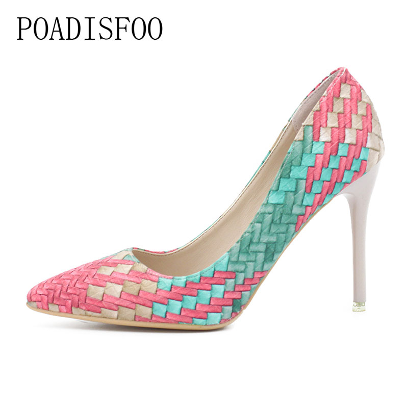 POADISFOO Pumps Woman Shoes spring autumn new national wind retro plaid heels pointed fine with single shoes women .XXXY-F-168 spring and autumn new retro princess pointed high heeled shoes women shoes shallow mouth fine with sexy elegance xxxy f 168