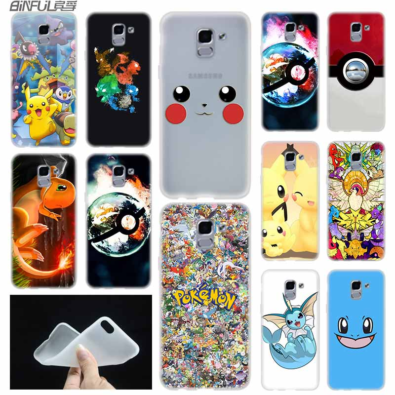 Anime Pokes pokemons ball friends case Cover TPU Coque For Samsung Galaxy J6 J8 J3 J5 J7 J4 J2 Plus 2018 2016 2017 EU Prime Ace