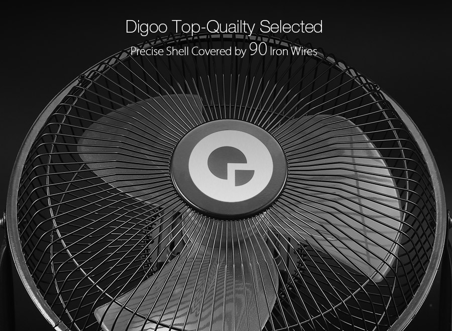 Digoo DF-101 10 inch Large Full Black Metal Electrical Rotatable USB Rechargeable 18650 Battery Cool Desk Fan