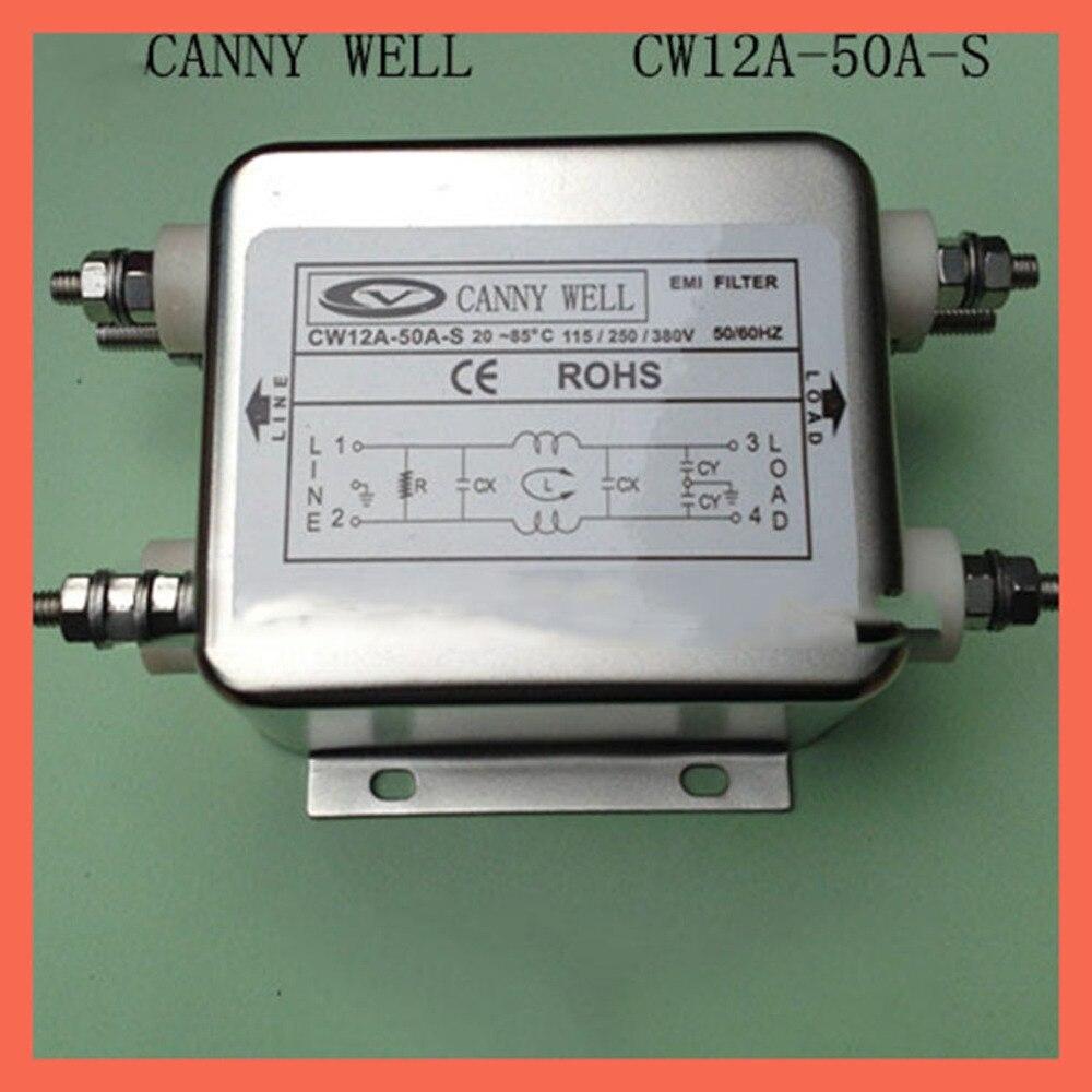 Ac 115 380 v большой ток 50 двухфазный фильтр питания CW12A 50A S EMI фильтр электрооборудования поставки адаптеры питания