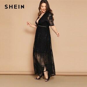 Image 4 - SHEIN grande taille noir oeillet dentelle Insert col plongeant maille superposition robe 2019 femmes été glamour profond col en V taille haute robe