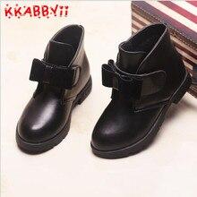 KKABBYII New Autumn Winter Children Boots Girls Shoes Kids PU Patchwork Slip-resistant Fashion Martin Boots Girls Ankle Boots