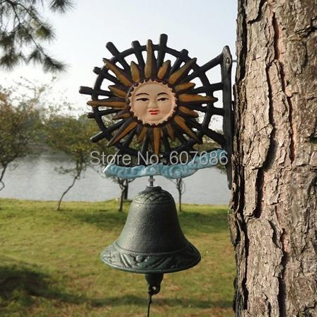Antique Cast Iron Seasonal Sun Face Welcome Dinner Bell Wall Hanging for Yard Hotel Coffee Shop Cafe Bar Club Pub Free Shipping