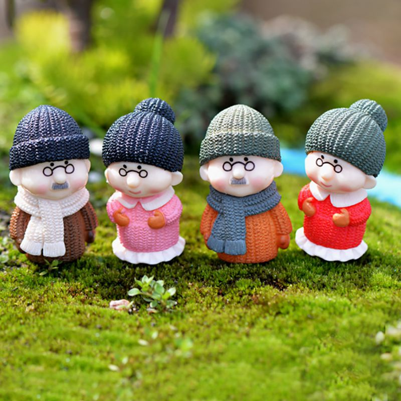 Grandpa Grandma DIY Miniature Figurine Garden Dollhouse Decor Micro Landscape MA