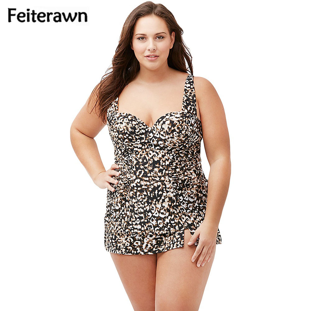 Feiterawn 2018 Summer Women Plus Size Swimwear Leopard Print Tankini One Piece Swimsuit Push Up High Waist Bathing Suit DL41813 black solid plus size swimwear sexy women one piece swimsuit high waist push up bathing suit retro tankini large size dress