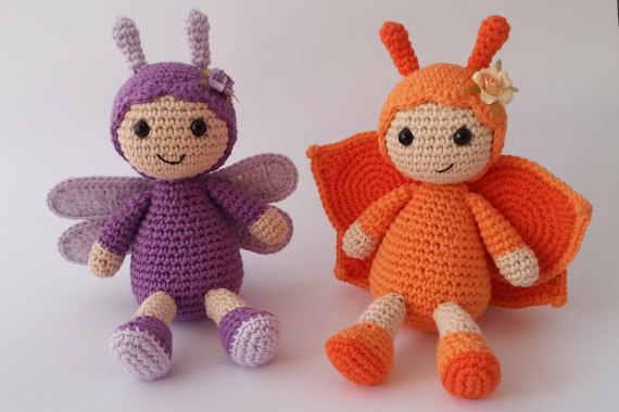 Бабочка и стрекоза Amigurumi погремушки Игрушка связанная крючком Погремушка кукла
