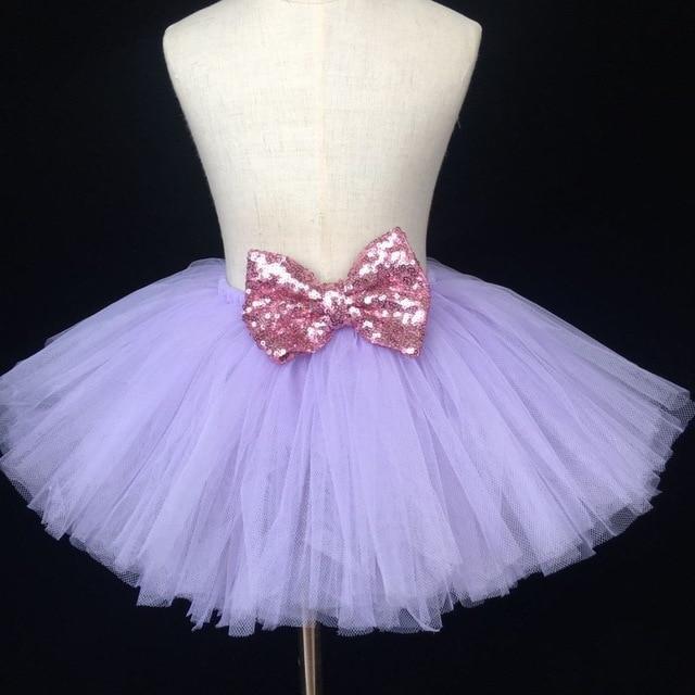 bc50f9c0b Girls Purple Tutu Skirt Baby Fluffy Tulle Skirt Birthday Party Skirt with  Pink Satin Bow Kids Ballet Tutu Children Costume Skirt