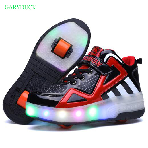 2017 Fashion Children Two Wheels Roller Shoes Boys/Girls Led Light Shoes Children Glowing Shoes Kids Glowing Sneakers with Wheel 2017new children led light shoes with one two wheels kids pu leather high help roller skate shoes boys girls sneakers shoes