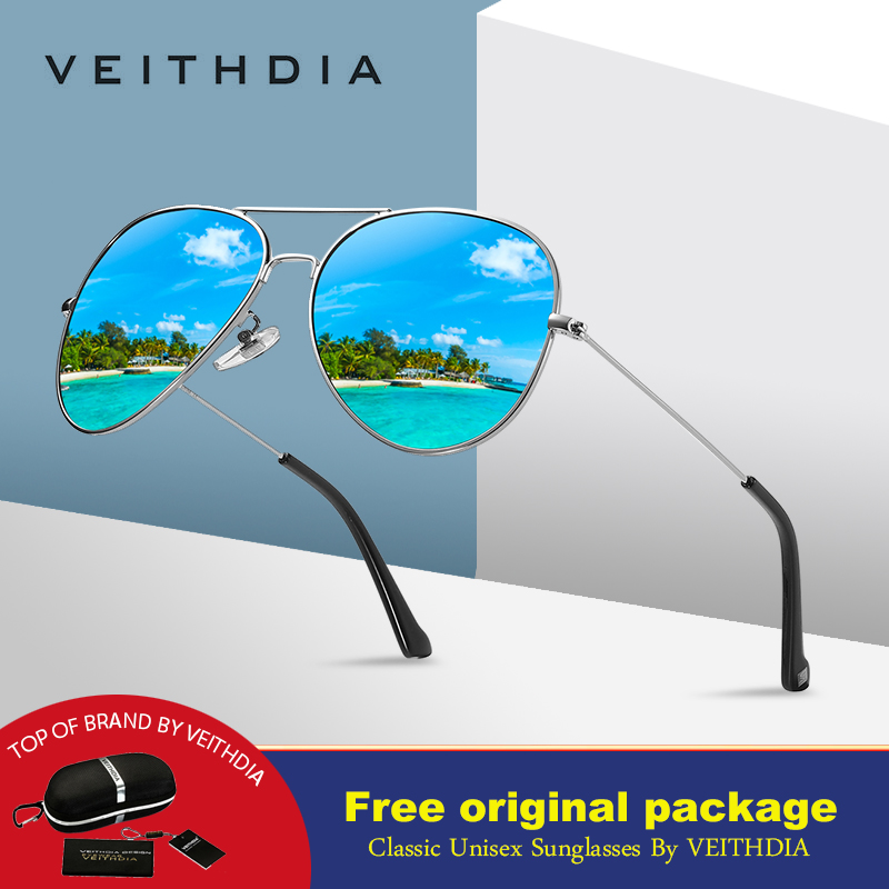 a73986516 VEITHDIA الأزياء الطيران مكبرة الاستقطاب النظارات الشمسية للرجال/النساء  الملونة عاكسة طلاء عدسة القيادة نظارات شمسية