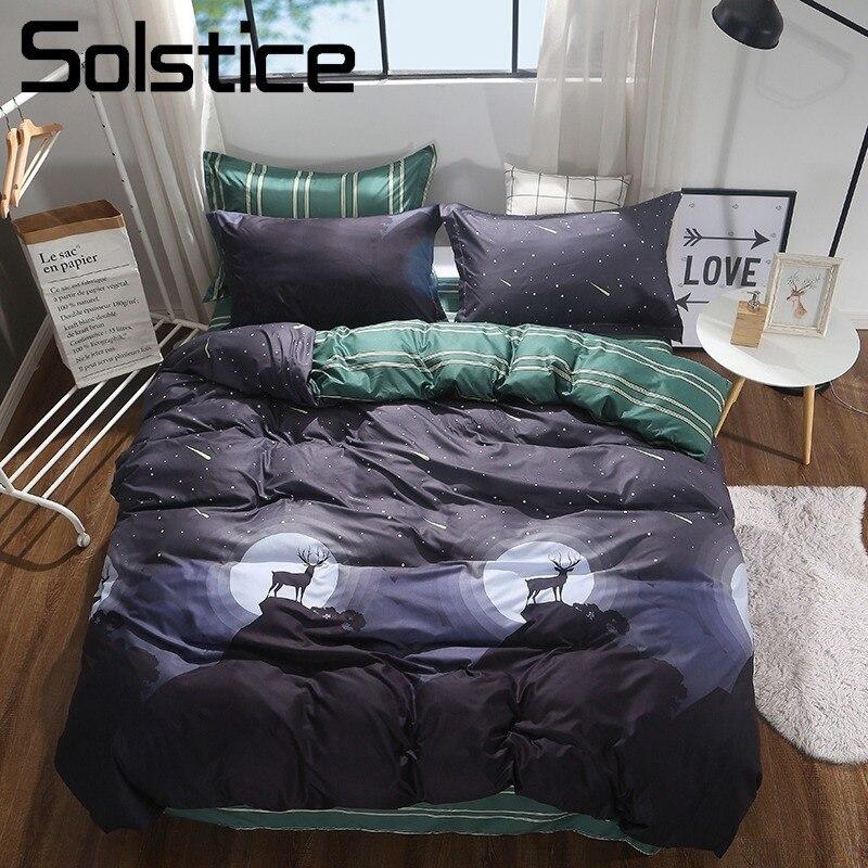 Solstice Home Textile Moon Deer Black Green Duvet Cover Pillowcase Bed Sheet Boy Kid Teen Girl Bedding Suit King Queen Linen Set