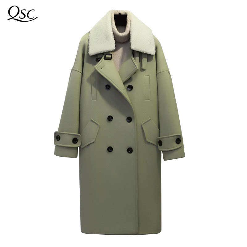 Frühling Winter Mantel Frauen 2018 Neue Dame Zweireiher Drehen-unten Kragen Feste Beiläufige Woolen Mantel Breite taille lange Wolle Mantel