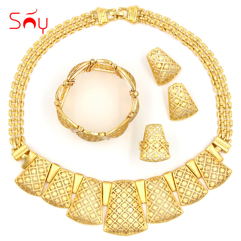 Sunny Jewelry Fashion Jewelry 2019 Women Bridal Wedding Jewelry Sets High Quality Lock Necklace Earrings Bracelet Ring For PartySunny Jewelry Fashion Jewelry 2019 Women Bridal Wedding Jewelry Sets High Quality Lock Necklace Earrings Bracelet Ring For Party