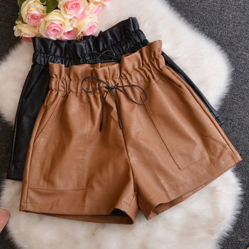 Spring Fall Fashion Womens Ladies Elastic Ruffles High Waisted Wide Leg Pu Leather Shorts , Autumn Winter Woman Loose Xxl Shorts