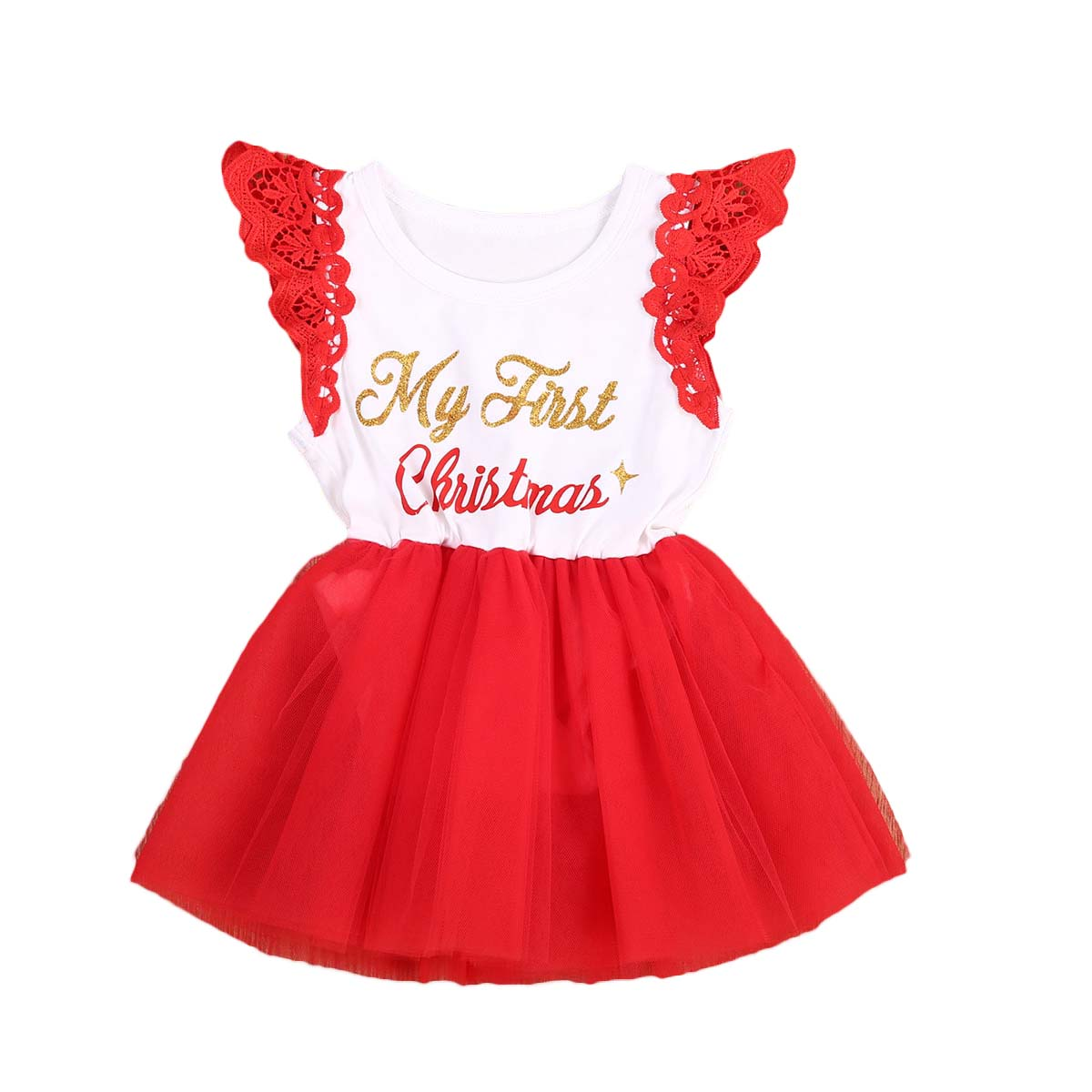 Pudcoco 2017 New Christmas Baby Girls Romper Cute Letter Lace Off shoulder Princess Red Romper Jumpsuit for baby first christmas