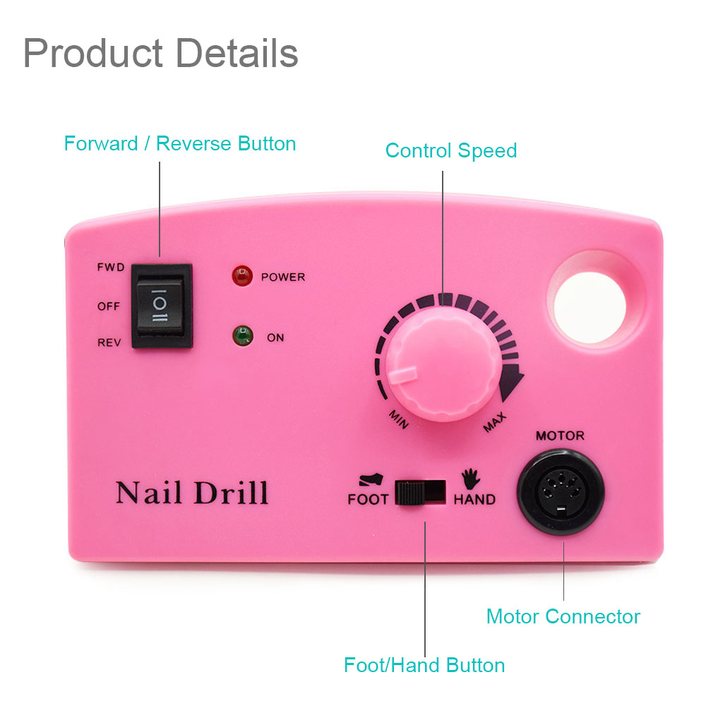 Image 3 - 3 Color Nail Drill Machine 35000RPM for Electric Manicure Drill Machine& Accessory With Milling Cutter Electric Nail File-in Electric Manicure Drills from Beauty & Health