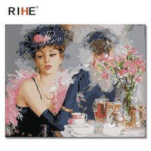 RIHE Elegant Woman Oil Painting By Numbers Tea Cuadros Decoracion Acrylic Paint On Canvas For Artwork Modern Home Decor 40X50CM
