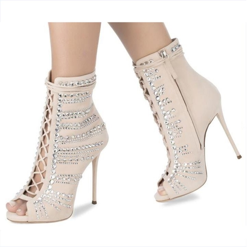 Fashion Crystal Sexy Woman High Heel Sandals Flock Open Toe Lace-Up Summer Silver Autumn Party Dress Shoes choudory 2017 design cutouts lace up sexy summer shoes woman fringe fashion beading heel gladiators sandals female black silver