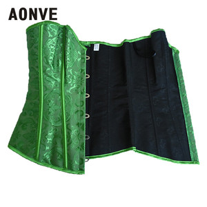 Image 5 - AONVE Corset Sexy Lingerie Brocade Royal Wedding Jarquard Corsets and Bustiers for Women Modeling Strap Sexy Green