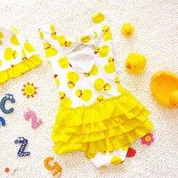 2018 طفل الفتيات المايوه البيكيني ملابس الأطفال الأصفر بطة أطفال الطفل البطة نمط قطعة واحدة المايوه