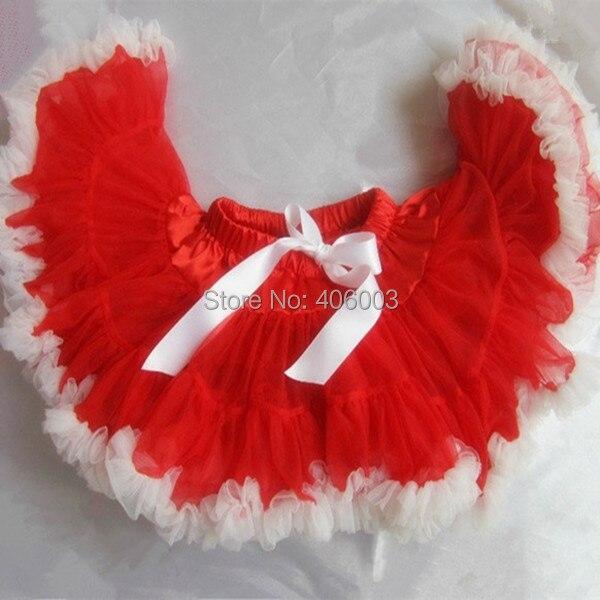 New Year Free Shipping hotest girls princess pettiskirt tutu very fluffy red with white christmas petti tutu