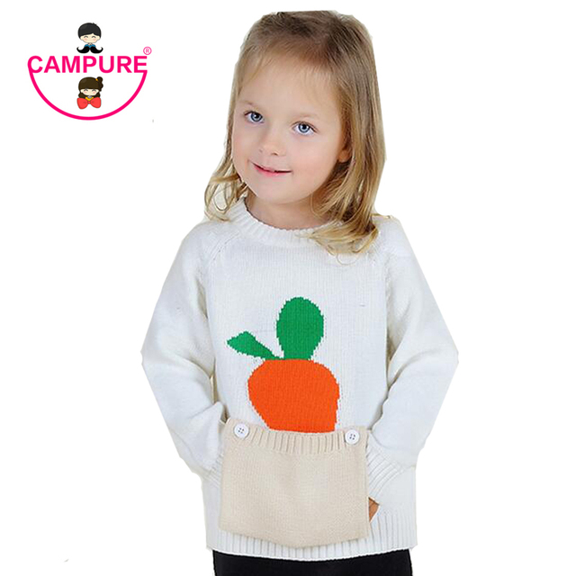 Campure New 2016 Winter Sweaters Cotton Baby Girl Clothes Carrot Print Pocket Warm Kids Clothes Vestidos 1-5Y Boys Girls Sweater