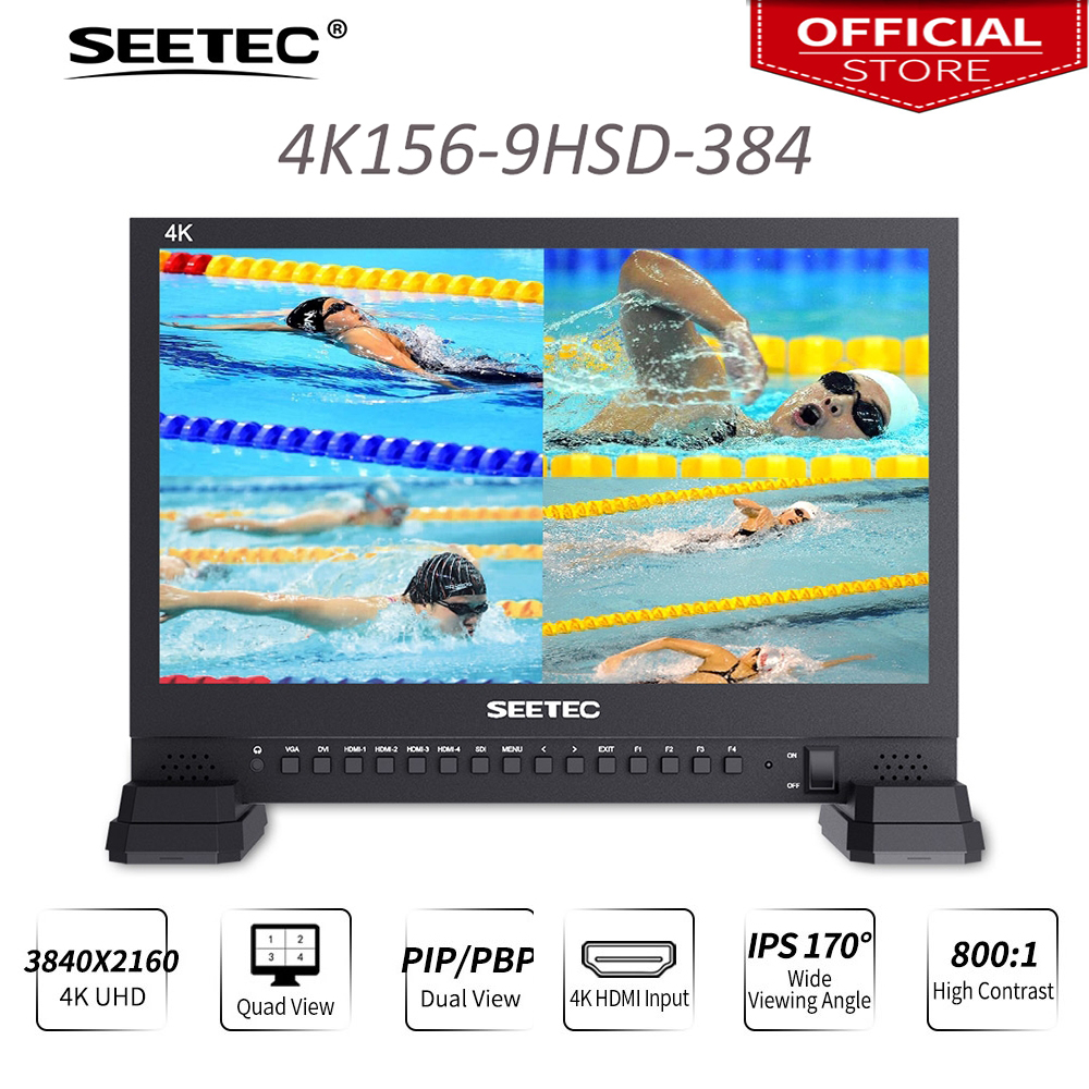 купить Seetec 4K156-9HSD-384 15.6 Inch IPS UHD 3840x2160 4K Broadcast Monitor with 3G-SDI HDMIx4 Quad Split Display Director Monitor по цене 50045.48 рублей