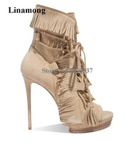 New Fashion Women Spring Autumn Peep Toe Suede Leather Tassels Thin Heel Short Boots Lace up Fringes High Heel Ankle Booties
