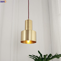 IWHD Nordic Simple Copper LED Pendant Lights Bar Dinning Living Room Japanese Lamps Hanging Light Home Indoor Lighting Fixtures