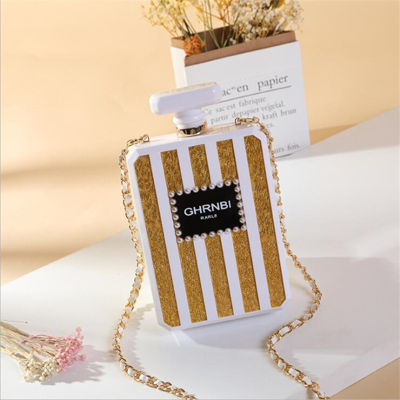 Famous Brand Crossbody Women Bags Metal Clutch Acrylic Evening Box Perfume Bottle Transparent Clear Shoulder Wedding Handbags(China)