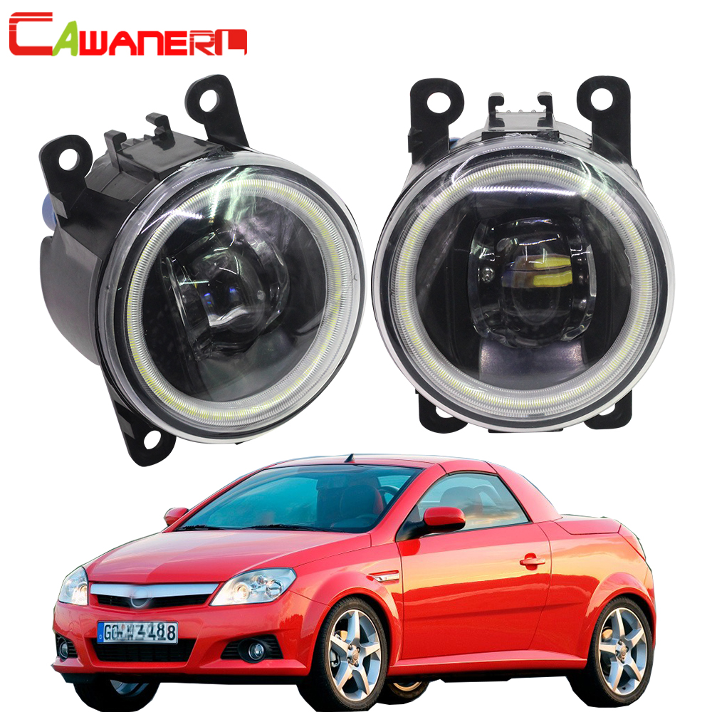 Cawanerl For Opel Tigra TwinTop Convertible 2004 2005 2006 Car 4000LM LED Fog Light Angel Eye Daytime Running Light DRL 12V