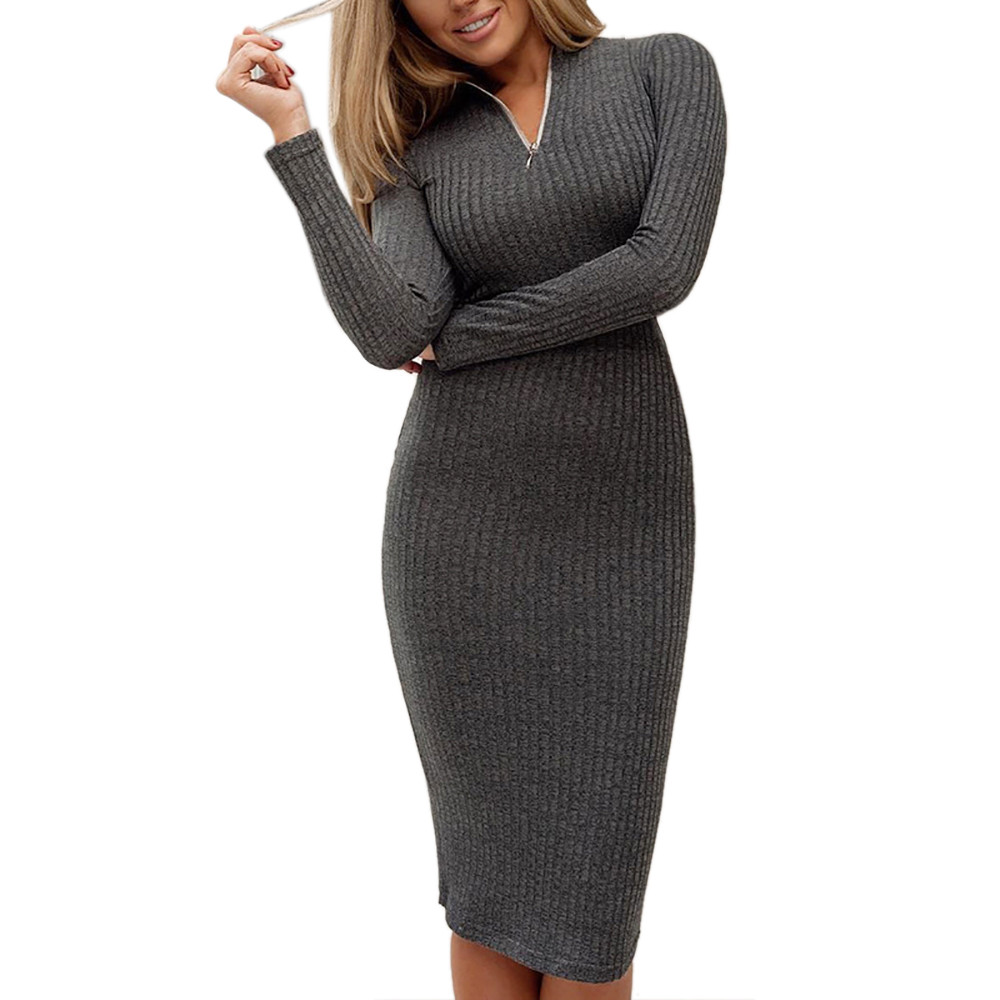 Women Thin Sweater Dress Female Spring Winter Gray Zipper Stand Collar Long Sleeve Knee-length Bodycon Knitted Party Dress EY11