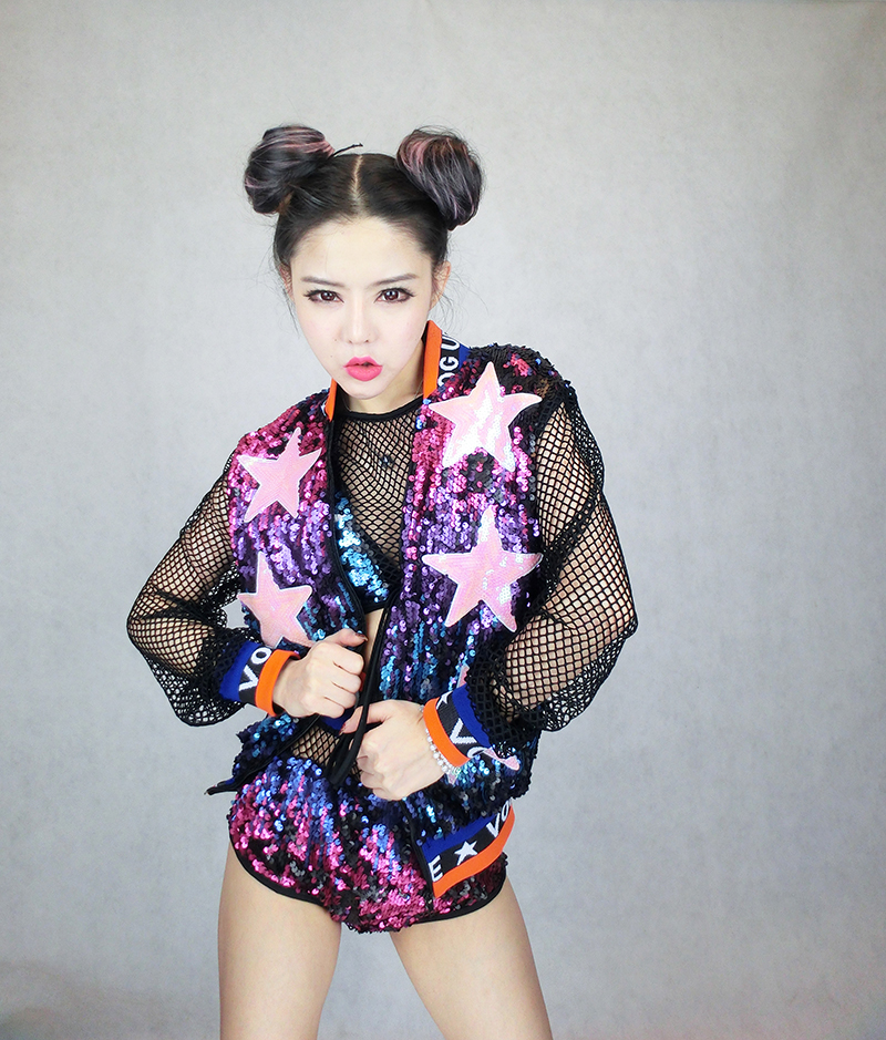 Bar stage singer DJ female costume colorful Sparkly Sequin letter costume uniforms sets Jacket top shorts Hip hop Dance Wear