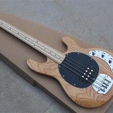 4-струнная Ясеневый корпус для электрической бас-гитары с кленовым грифом, черная накладка, предложение по индивидуальному заказу