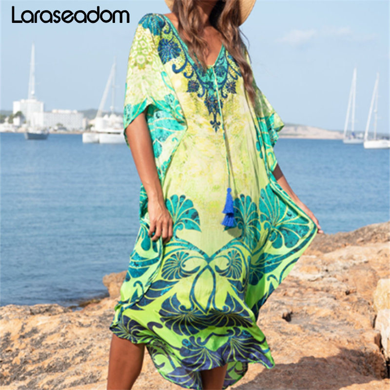 Cotton Long Beach Dress Beach Coverups For Women Pareo De Plage Swimsuit Cover Up Beach Sarongs Swimwear Kaftan Beach#Z243