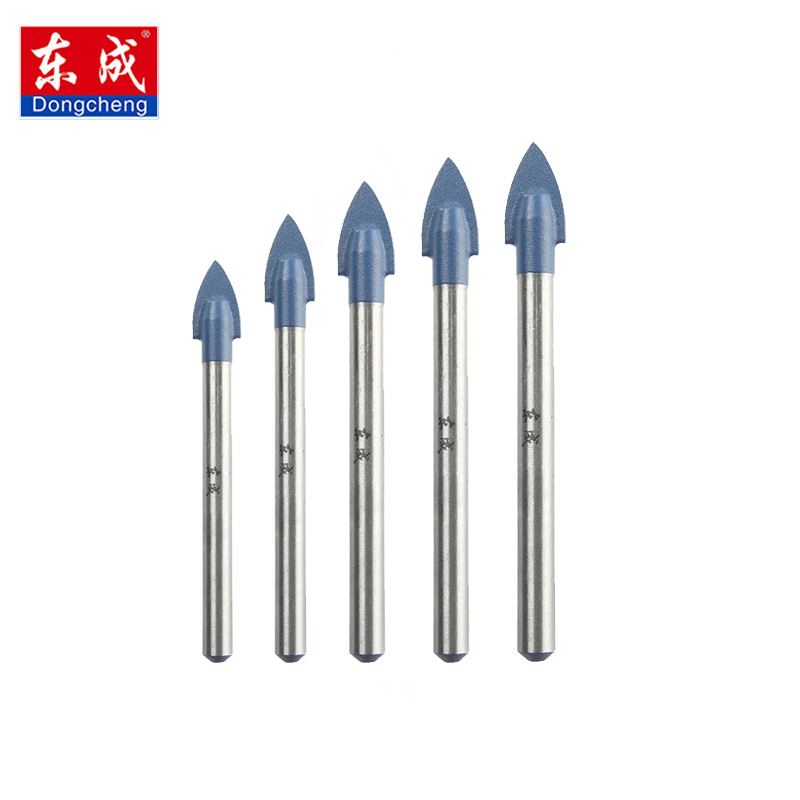 Dongcheng 5pcs 4/5/6/8/10mm Glass Drill Bit Set Tungsten Carbide Tipped Spear Head Ceramic Tile Cutter  Power Tools Accessories