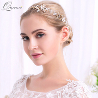 Handmade Elegant Luxurious Gold Silver Plated Stretchable Crystal Pearl Flower Headband Bridal Hair Accessories Wedding Hairband