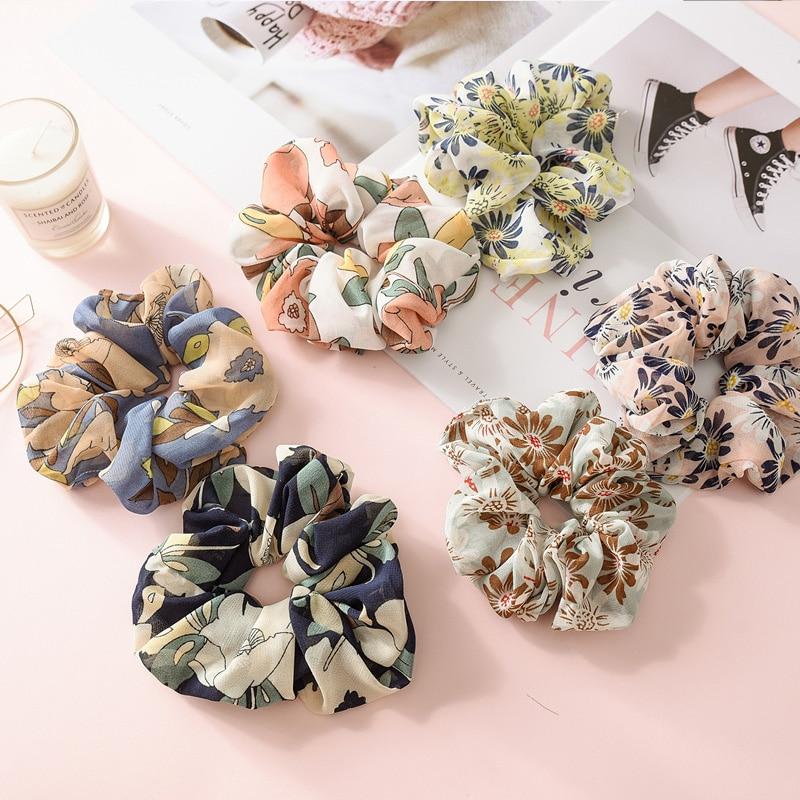 New Women Elegant Print Flower Big Elastic Hair Bands Scrunchie Hair Tie Rope Rubber Band Beauty Headbands Lady Hair Accessories