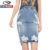 Sexy Blue Frayed Denim Skirts High Waist Fashion Fitness Wear Women 2016 Fashion Summer Hot Ladies