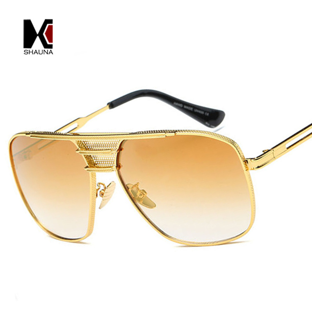 76aaad82eff SHAUNA Fashion Women Square Sunglasses Brand Designer Men Golden Metal Frame  Clear Lens Eyewear UV400