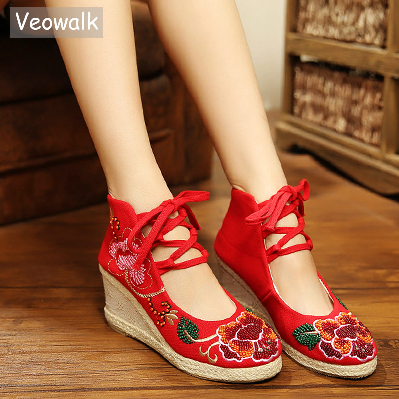 Veowalk Beaded Flower Embroidered Women Gladiator Lace up Canvas Pumps High Top Med Heels Wedges Platform Shoes for Ladies Beige