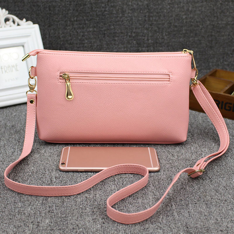 Fashion Korean Women Messenger Bags Leather Adjustable Strap Zipped Solid Color Casual Laides Girls Shoulder Bag LXX9