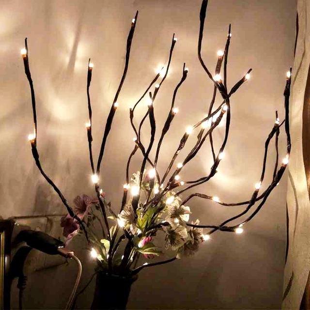 Warm White Lighted Twig Branches 20 Led Lights Artificial Tree Willow Lamp For Home Holiday Party Decoration Decor