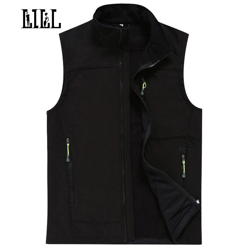 LILL  Waterproof Male Vest Men Autumn Winter Warm Tech Fleece Mens Waistcoats Softshell Casual Vests Sleeveless Jacket,UA022
