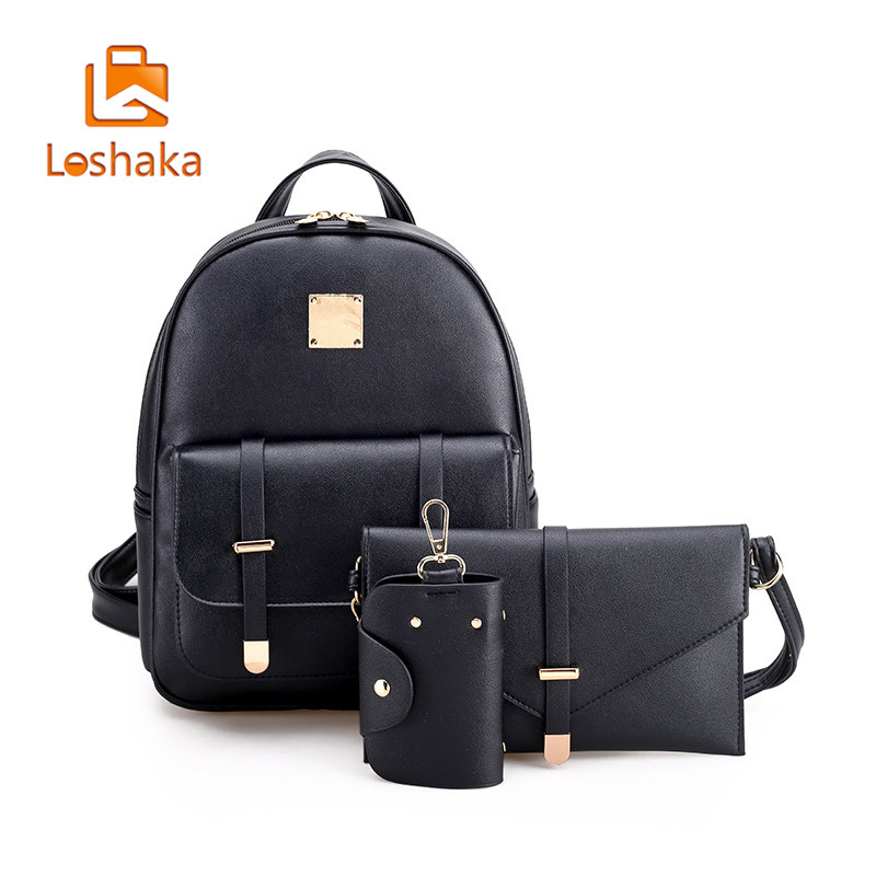 Fashion Composite Bag Pu Leather Backpack For Women 3 Sets Bag School Backpacks For Teenage Girls Black Bags Letter Sac A Dos